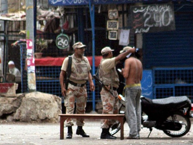 Rangers arrested two target killers, Rafique and Lamba on Thursday in New Karachi. PHOTO: PPI