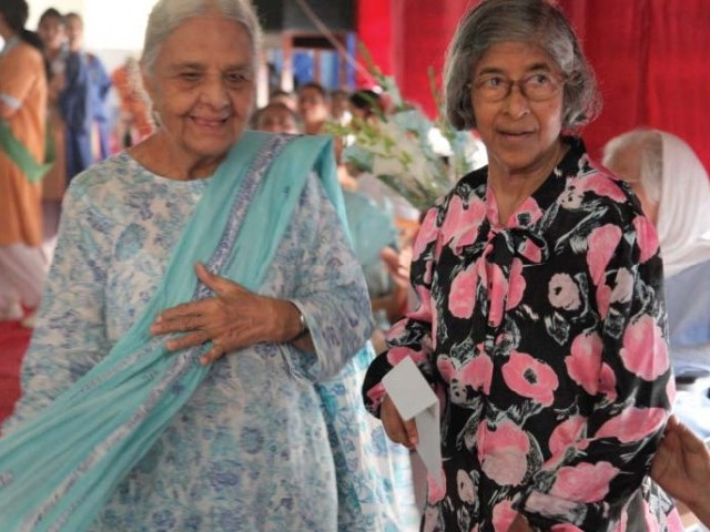 Ms Siddiqui (left) and Ms Soares at Feast Day celebrations in March this year. The school has turned 150 years old and these teachers have been there for half a century. PHOTO: EXPRESS