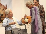 Sr Zinia Pinto presenting Sabra Siddiqi with a bouquet. She joined in 1958. (Inset) Sadiq. PHOTOS-NEFER SEHGAL-EXPRESS