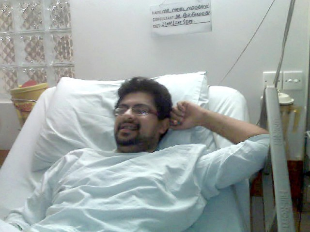 Nayel Noorani was in hospital for 10 days. Here he is seen in hospital and a month after.