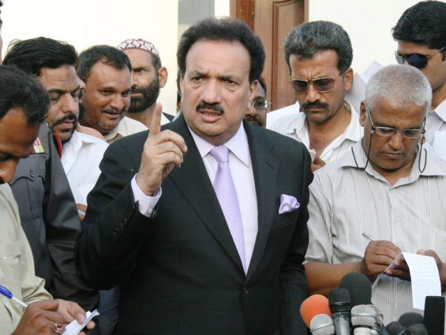 """ If you say that ISI is involved in [last week's Kabul] attack, I categorically deny it,"" Interior Minister Rehman Malik. PHOTO: EXPRESS/FILE"