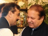 Prime Minister Yousaf Raza Gilani greets PML-N leader Nawaz Sharif at the PM House in Islamabad. PHOTO: AFP