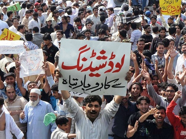 Residents of several areas of Sindh and Punjab protest against prolonged and unscheduled loadshedding. PHOTO: EXPRESS/FILE