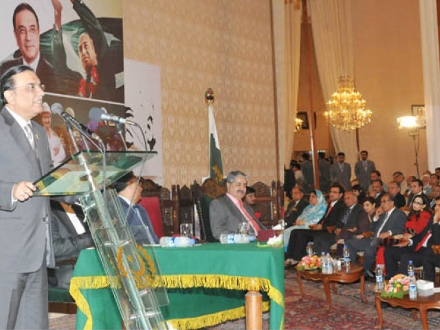 President Asif Ali Zardari addressing the gathering after Unit Certificates distribution among employees of PPL and KAPCO under the Benazir Employees Stock Option Scheme at the Aiwan-e-Sadr on October 3, 2011. PHOTO: APP