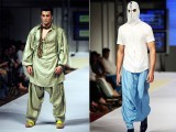 Designs by Aamir Baig on the first day of Fashion Week in Karachi 6th October 2011 PHOTO: AFP