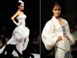 Creations by Pakistani designer Trevor Castelino (L) and Malaysian designer Sharifah Kirana (R) on first day of Karachi Fashion Week 6th October 2011 PHOTO:  AFP