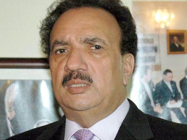 Rehman Malik says the IBM system will be installed at all national airports and Pak-Afghan border check points within three months. PHOTO: INP/FILE