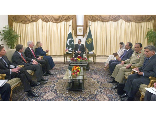 US delegation led by Secretary of State Hillary Clinton meets Prime Minister Yousaf Raza Gilani, ISI chief Ahmed Shuja Pasha, Army chief Ashfaq Kayani, Finance Minister Abdul Hafeez Shaikh and Foreign Minister Hina Rabbani Khar at the PM House in Islamabad. PHOTO: REUTERS