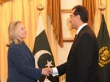 Prime Minister Yousuf Raza Gilani shaking hands with US Secretary of State Hillary Clinton upon her arrival at the Prime Minister house on October 20, 2011. PHOTO: PID