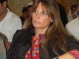 "Jemima Khan at ""Waziristan Grand Jirga on Drone Strikes"" jointly organized by the Reprieve (UK) and Foundation for Fundamental Rights (Pak) on Friday. PHOTO-MUHAMMAD JAVAID/EXPRESS TRIBUNE"