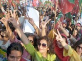 Women activists raise victory signs at a Pakistan Tehreek-e-Insaf rally to protest against drone strikes in Islamabad on Friday. PHOTO: INP