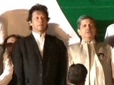 Imran Khan prepares to address PTI Jalsa.