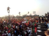 Thousands gather for the PTI's Lahore rally. PHOTO: FARHAN MASOOD