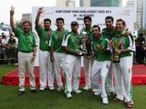 The Pakistan team celebrates with their trophies after beating England in the final of the Hong Kong Cricket Sixes October 30, 2011. PHOTO: REUTERS