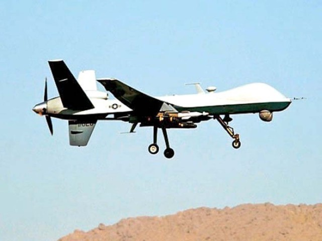 Drone fires four missiles on vehicle in Mubarak Shah tehsil. PHOTO: AFP/FILE