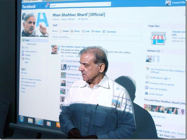 Chief Minister Shahbaz Sharif launches his official Facebook page. PHOTO: PROPAKISTANI