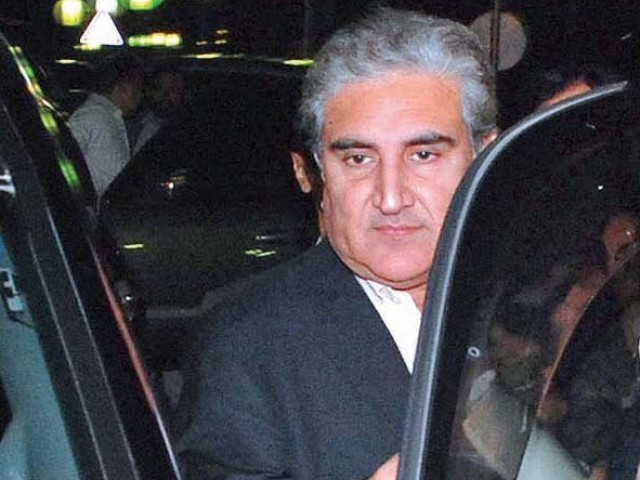 Former foreign minister Shah Mahmood Qureshi is seen leaving the Parliament House after announcing his decision to quit the PPP and resign from the National Assembly. PHOTO: INP
