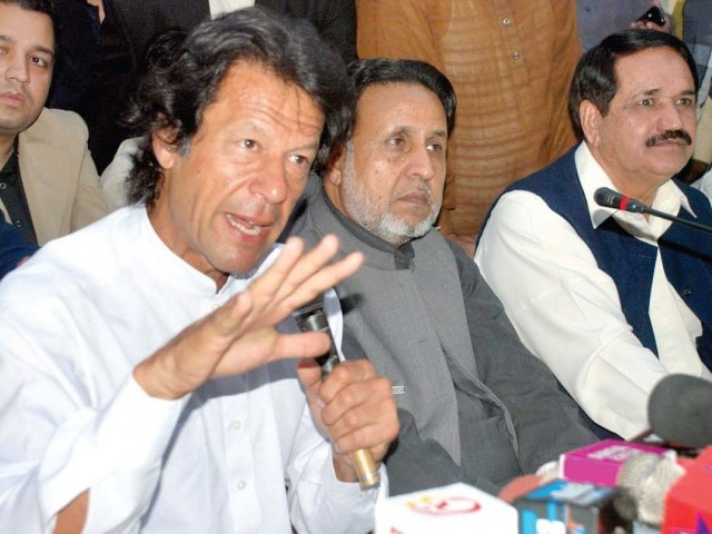 PTI chairman Imran Khan addresses a press conference in Lahore. PHOTO: NNI