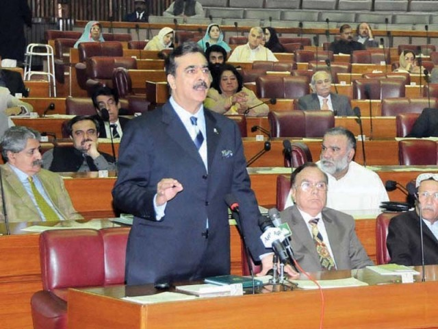 Prime Minister Yousaf Raza Gilani addressing the National Assembly session. PHOTO: SANA