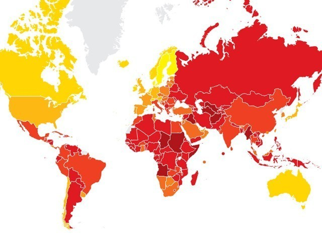 Showing improvement, Pakistan scored 2.5 in Corruption Perceptions Index (CPI) compared to last year's score of 2.3.