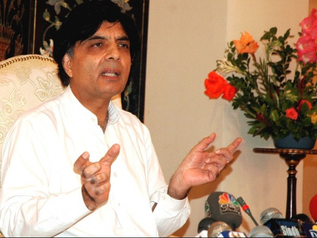 Khan's politics revolve around accusing people of various crimes, says Nisar.  PHOTO: FILE