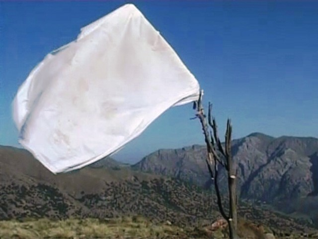 A still image taken from an ISPR (Inter Services Public Relations) video shows a white flag in a Pakistani army post after a Nato attack in the Pakistan-Afghanistan border area November 30, 2011. PHOTO: REUTERS/ISPR