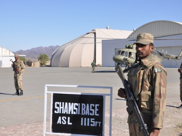 Pakistan military says Shamsi airbase has been completely vacated; Pakistan flag hoisted at base. PHOTO: ISPR