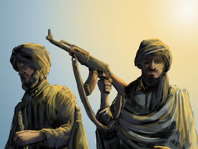 Reporter takes a tantalising glimpse of the day-to-day life of a group of Pakistani Taliban in North Waziristan. ILLUSTRATION: JAMAL KHURSHID