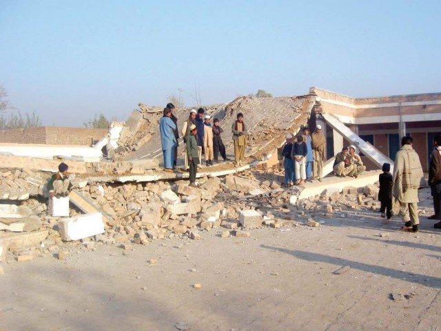 A view of the girls school blown up by militants on Sunday. PHOTO: AMIRZADA AFRIDI/EXPRESS
