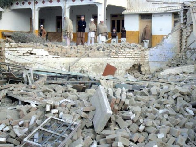 A view of a middle school destroyed by militants in Landi Kotal on Friday. PHOTO: REUTERS