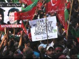 Posters at the PTI rally. PHOTO: NEFER SEHGAL