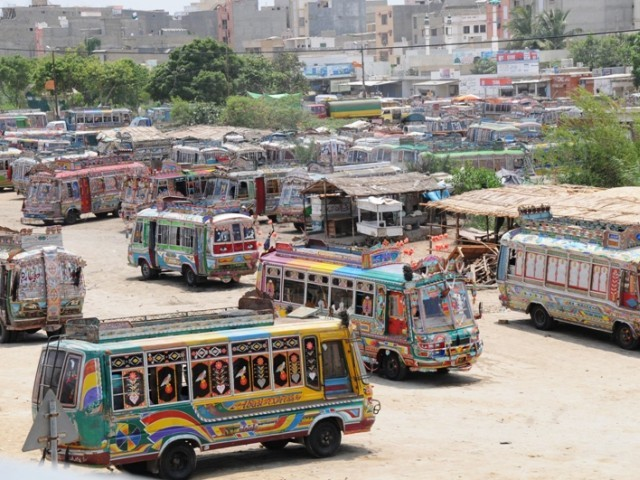 Transporters are protesting against the frequently closure of CNG stations in the city. PHOTO: EXPRESS/ FILE