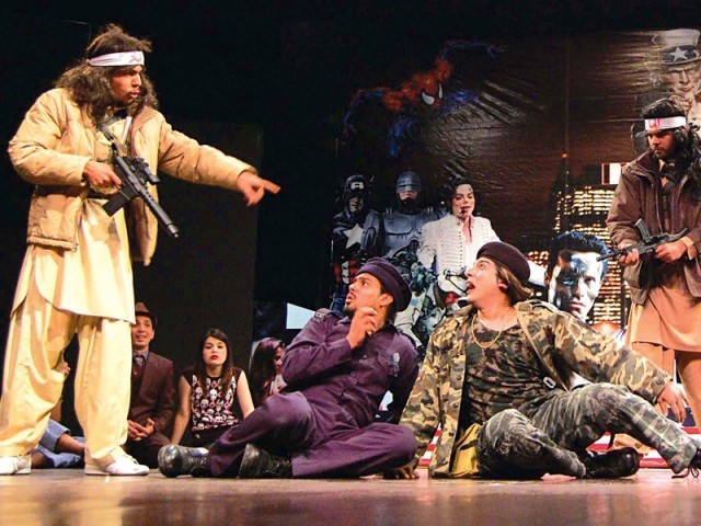 The play is a social commentary on how every individual harps about the problems the US has caused the country and yet inwardly, they wouldn't give a second thought to pursuing a future in the greener pastures it has to offer. PHOTOS: MUHAMMAD JAVAID