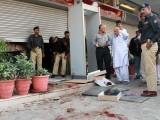 Nature of the blast in Karachi still uncert­ain, two guards critic­ally injure­d. PHOTO: INP