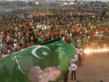 Around 7,000 activists and supporters of the party of former president Pervez Musharraf came to listen to him speak on Sunday via a video link from Dubai during a public meeting at a ground next to Jinnah's mausoleum. Musharraf announced he would return home by the end of January after more than three years of self-exile, piling more pressure on the civilian government. PHOTO: ATHAR KHAN/EXPRESS
