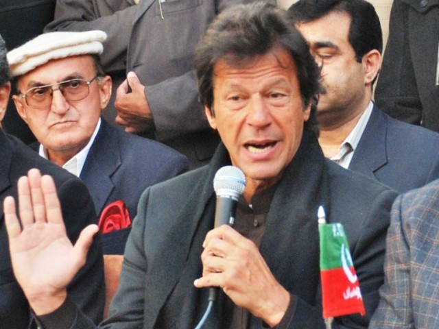 Khan says had current government came into power through people not NRO, then elections would have been held. PHOTO: ZAFAR ASLAM