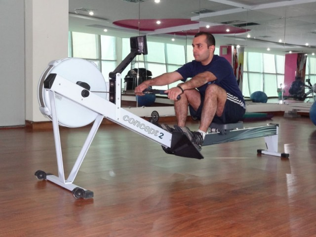 Muhammad Zubair rowed continuously for 10 hours to set a record in indoor rowing. PHOTO: OBAID ABBASI