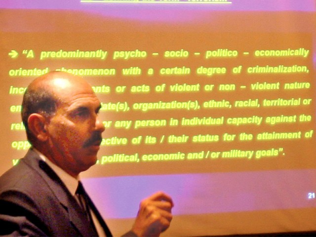 Colonel Ahmed Raza called terrorism a complex psycho-social, economic problem. PHOTO: EXPRESS