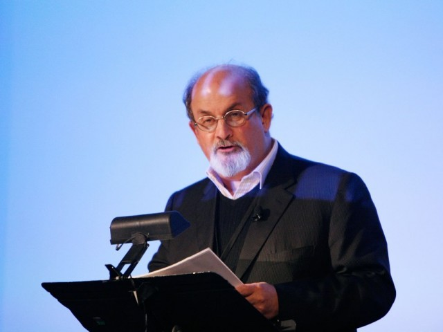 "Salman Rushdie's novel ""The Satanic Verses"", which is banned in the country, was read out at a literary festival. PHOTO: AFP/ FILE"