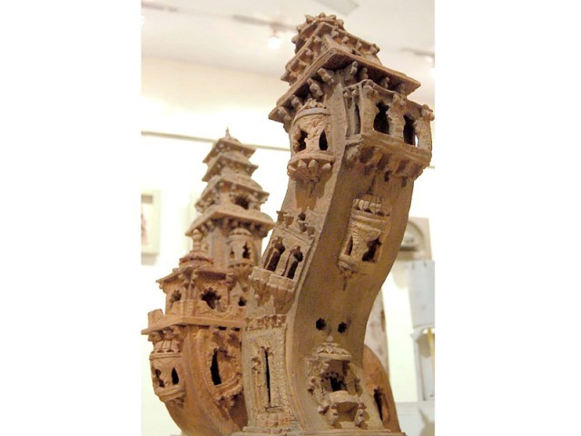 Hussain's work is reminiscent of the historical monuments that Pakistanis hold dear and even the Leaning Tower of Pisa of Italy. PHOTOS: THE EXPRESS TRIBUNE