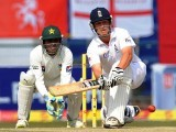 At the break, Jonathan Trott (57) and Alastair Cook (58) were at the crease. PHOTO: AFP