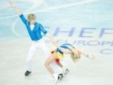 Pernelle Carron and Lloyd Jones of France perform during the Ice Dance Short Dance on day three of the ISU European Figure Skating Championships at the Motorpoint Arena in Sheffield, north England, on January 25, 2012. PHOTO : AFP