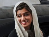 Foreign Minister Hina Rabbani Khar arrives for a meeting with Afghan counterpart Zalmai Rasool at the Foreign Ministry in Kabul on February 1, 2012. PHOTO: AFP