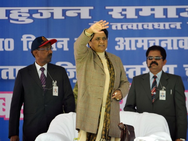 Chief Minister of the northern Indian state of Uttar Pradesh Mayawati waves towards  a crowd during an election campaign rally  in Sitapur, India on February 1, 2012. PHOTO: AFP