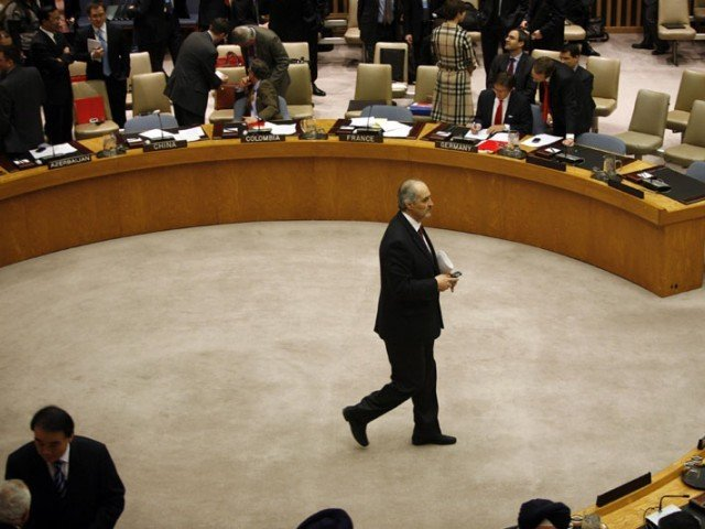 Syrian Ambassador to the United Nations Bashar Jaafari is seen leaving the UN Security Council meeting to discuss a European-Arab draft resolution endorsing an Arab League plan calling for Syrian President Bashar al-Assad to give up power in New York February 4, 2012. PHOTO: REUTERS