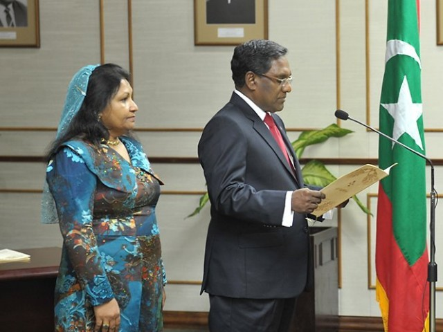 Dr Mohammad Waheed, who was the Vice President of Maldives, takes oath as the President after President Nasheed was forced out of office. PHOTO: MALDIVE PRESIDENTIAL OFFICE