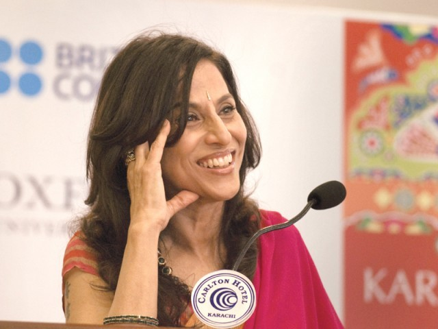 The writer's disdain for prescribed gender roles was highlighted in her talk. PHOTO: AYESHA MIR/EXPRESS