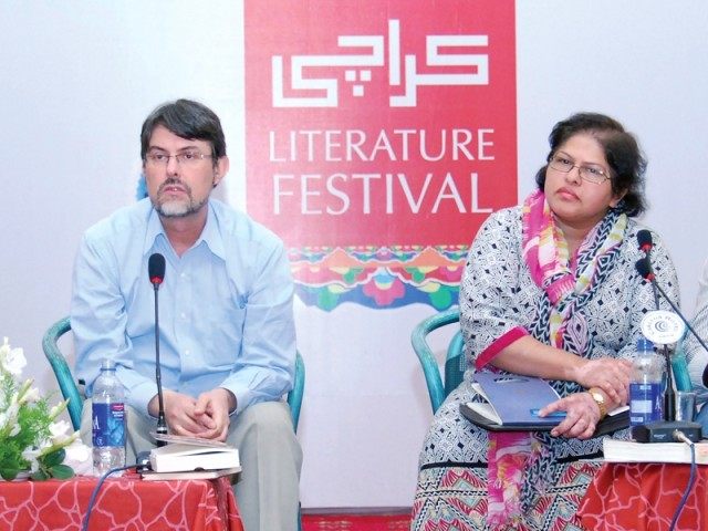 Lieven was grilled by Siddiqa on his book. PHOTO: ARIF SOOMRO