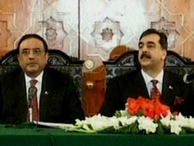 Zardari and Gilani chaired a PPP core committee meeting. PHOTO: EXPRESS/FILE