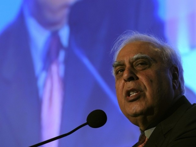 Indian Minister of Communication and IT Kapil Sibal speaks during the inaugural session of the National Association of Software and Services Companies (NASSCOM) at the India Leadership Forum in Mumbai on February 14, 2012. PHOTO: AFP